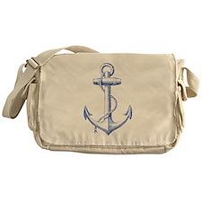 vintage navy blue anchor Messenger Bag