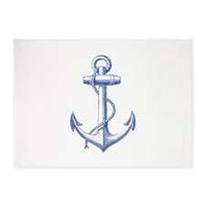 vintage navy blue anchor 5'x7'Area Rug