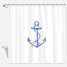 vintage navy blue anchor Shower Curtain