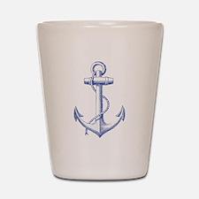 vintage navy blue anchor Shot Glass