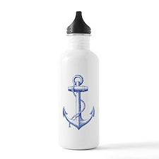 vintage navy blue anchor Water Bottle