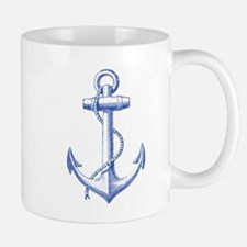 vintage navy blue anchor Mugs