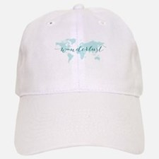 Wanderlust, teal world map Baseball Baseball Baseball Cap