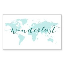 Wanderlust, teal world map Decal