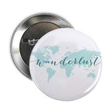 "Wanderlust, teal world map 2.25"" Button"