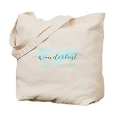 Wanderlust, teal world map Tote Bag