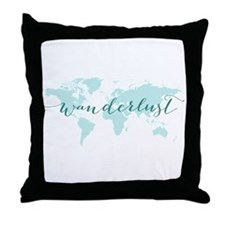 Wanderlust, teal world map Throw Pillow