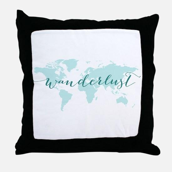 Wanderlust, teal world map Throw Pillow