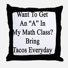 "Want To Get An ""A"" In My Math Class?  Throw Pillow"