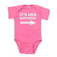 It's Her Birthday (right Arrow) Baby Bodysuit