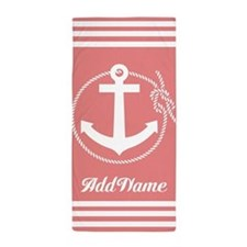 Stripes Coral Anchor Personalized Beach Towel