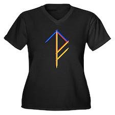 WTF Bindrune Women's Plus Size V-Neck Dark T-Shirt