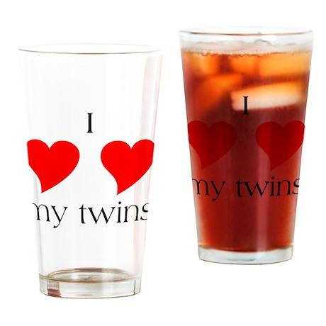 I Heart My Twins Drinking Glass