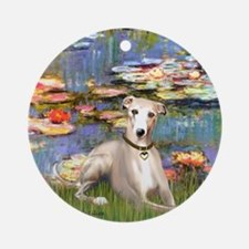 Lilies & Whippet Ornament (Round)
