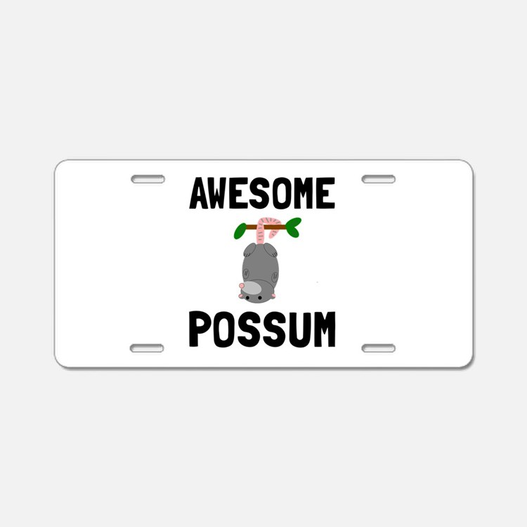 Awesome Possum Aluminum License Plate