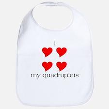 I Heart My Quadruplets Bib