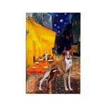 Cafe & Whippet Rectangle Magnet (10 pack)