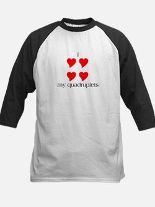 I Heart My Quadruplets Kids Baseball Jersey