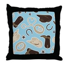 Cute Cowboy Theme Pattern Blue Throw Pillow