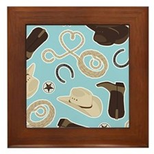 Cute Cowboy Theme Pattern Blue Framed Tile