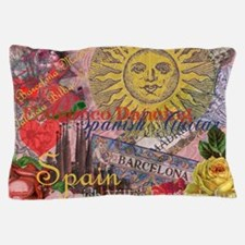Spain Vintage Trendy Spain Travel Collage Pillow C