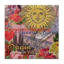 Spain Vintage Trendy Spain Travel Collage Tile Coa
