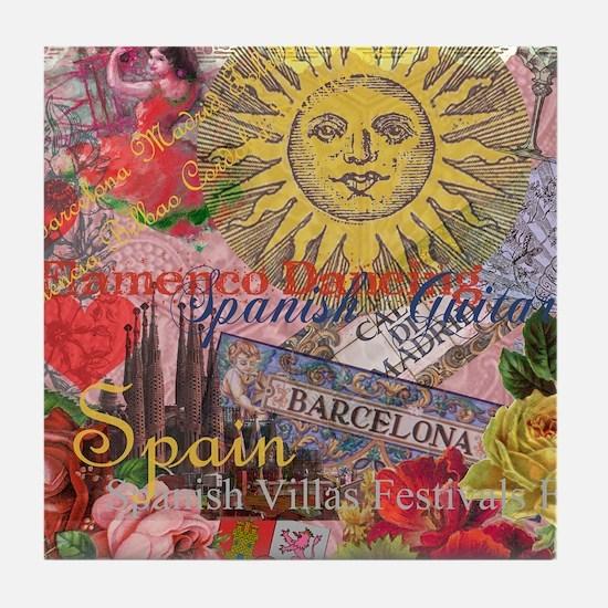 Spain Vintage Trendy Spain Travel Collage Tile Coa