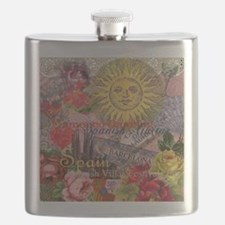 Spain Vintage Trendy Spain Travel Collage Flask