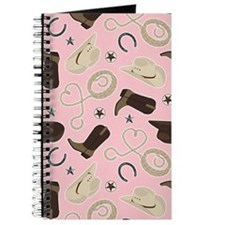 Cute Cowboy Theme Pattern Pink Journal