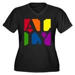Ally Pop Women's Plus Size V-Neck Dark T-Shirt