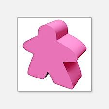 "Pink Meeple Square Sticker 3"" x 3"""