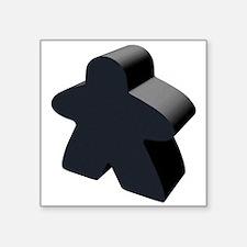 "Black Meeple Square Sticker 3"" x 3"""