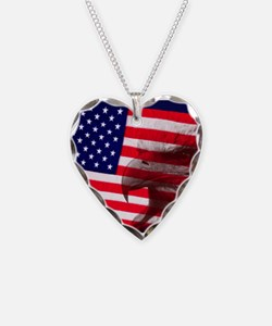 Eagle Face On American Flag Necklace