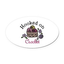 Hooked On Crochet Oval Car Magnet