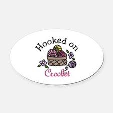 Hooked On Crochet Oval Car Magnet