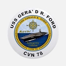 USS Gerald R. Ford CVN 78 Ornament (Round)