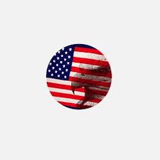 Eagle Face On American Flag Mini Button