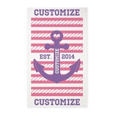 Customized Nautical Anchor and Rope 3'x5' Area Rug