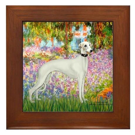 Whippet in Monet's Garden Framed Tile