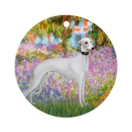Whippet in Monet's Garden Ornament (Round)