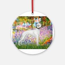 Whippet in Monet's Garden Ornament (Round)