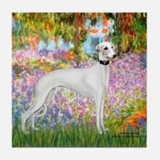 Whippet in Monet's Garden Tile Coaster