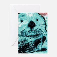 Bright aqua mint Sea Otter Greeting Card