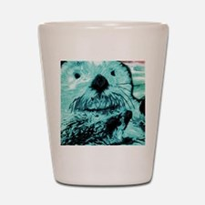 Bright aqua mint Sea Otter Shot Glass