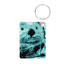 Bright aqua mint Sea Otter Aluminum Photo Keychain