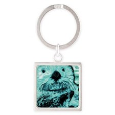 Bright aqua mint Sea Otter Square Keychain
