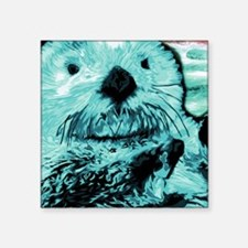 """Bright aqua mint Sea Otter Square Sticker 3"""" x 3"""""""
