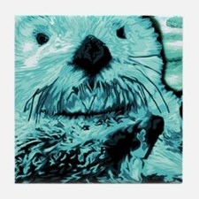 Bright aqua mint Sea Otter Tile Coaster