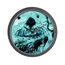 Bright aqua mint Sea Otter Wall Clock