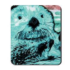 Bright aqua mint Sea Otter Mousepad